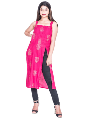 Pink Color Cotton Hand Block Print Kurti - Af74 PINK