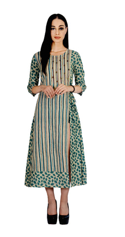Rama-Green Color Cotton Printed Kurti - Af9-Rama-Green