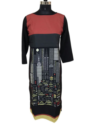 Black and Red Color Crepe Printed Stitched Kurti - BCK-36