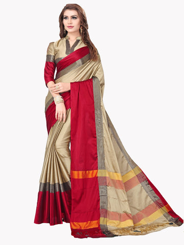 Beige Color Zari Woven   Cotton Silk Saree - BF5163BEIGE_RED