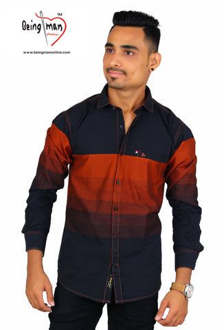 Black and Rust Color Cotton Men's Shirt - BM-118-black-rust