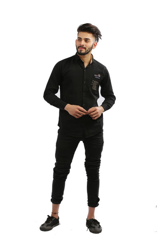 Black Color Cotton Men Shirt - BM102-black