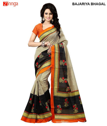 Beige And Black Color Poly Cotton Saree - BajariyaBhagal