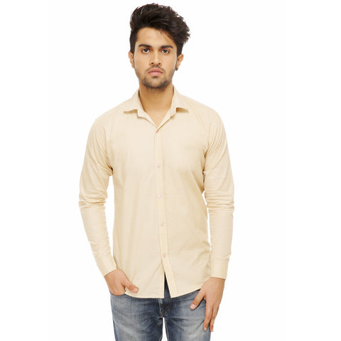 Beige Color Cotton Blend Slim Fit Shirts - Beige-shirtsNew