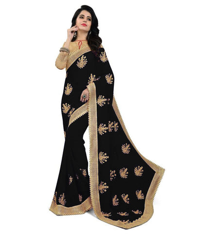 Black Color Embroidered Faux georgette Saree - Bf5150black
