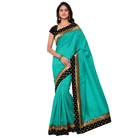 Black and Green Color Bhagalpuri Saree - Blackdot-Rama-1