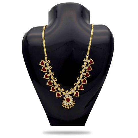 Red and Gold Color Alloy Necklace  - C3PNPG0007R