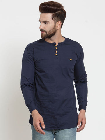 Navy Blue Color Cotton Men's Shirt  - CM-KR14