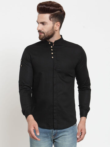 Black Color Cotton Men's Shirt  - CM-ST44