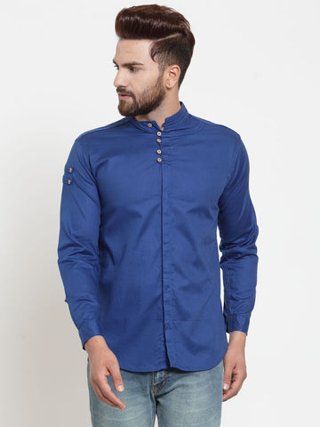 Royal Blue Color Cotton Men's Shirt  - CM-ST66