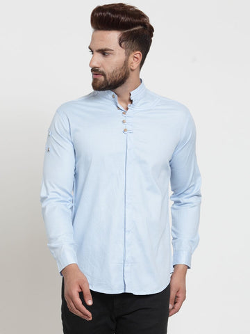 Sky Blue Color Cotton Men's Shirt  - CM-ST83