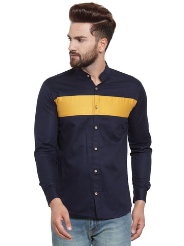 Navy Blue Color Cotton Men's Shirt  - CM-ST90