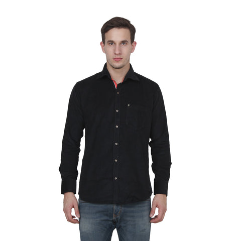 Black Color Cotton Blend Slim Fit Shirts - Cotto.Black