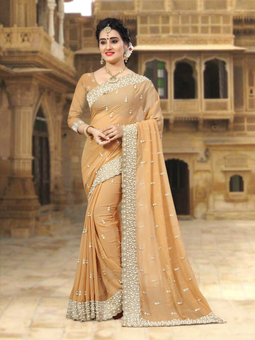Beige Coloe Georgette Saree - D-NO-258