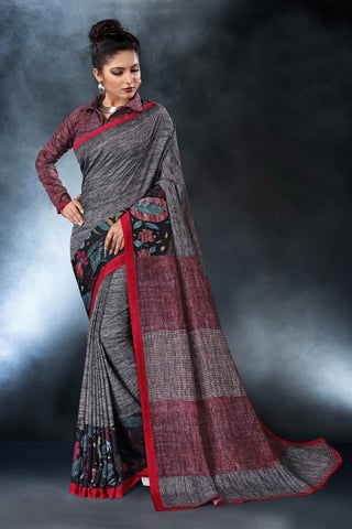 Ash Color Tussar Silk Saree - D.NO-1551
