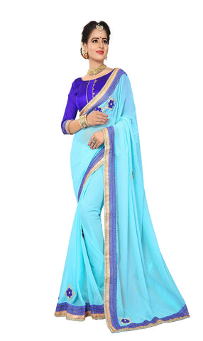Light Sky Color Marba Chifon Saree - D.NO.-1741
