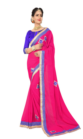 Gajari  Color Marba Chifon Saree - D.NO.-1746