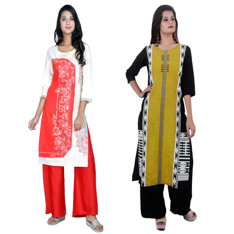 COMBOS-Cotton Stitched Kurtis  - D23-R-53-Yellow