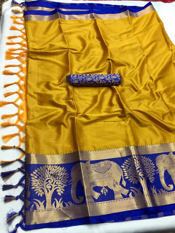 Mustard Color Soft Cotton Silk  Saree - DF-002