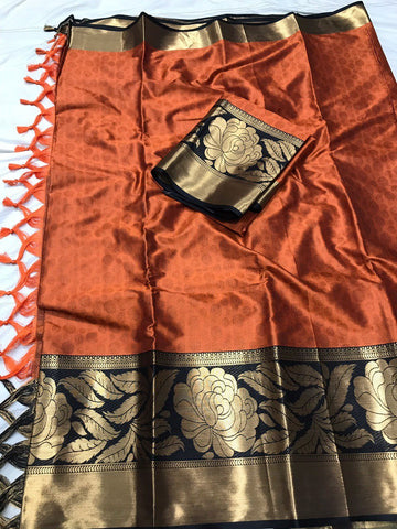Orange Color Soft Cotton Silk  Saree - DF-003