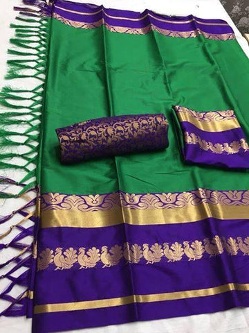 Green Color Soft Cotton Silk  Saree - DF-007