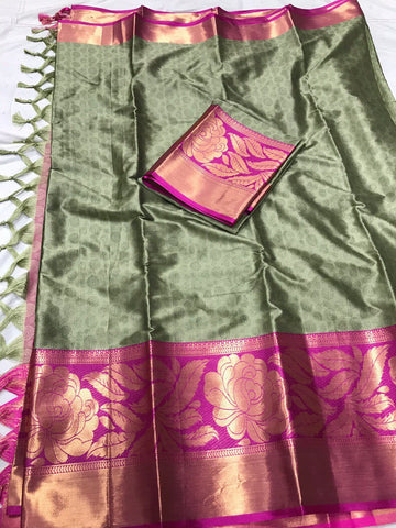 Moss Color Soft Cotton Silk  Saree - DF-008