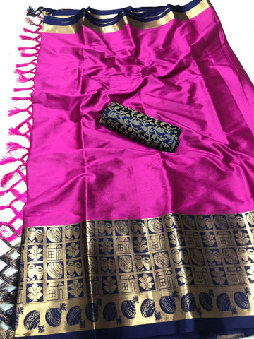 Dark Pink Color Soft Cotton Silk  Saree - DF-009