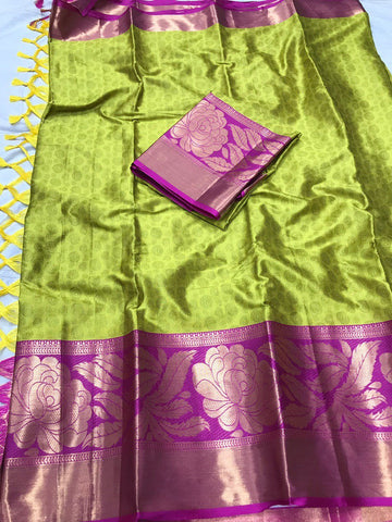 Parrot Green Color Soft Cotton Silk  Saree - DF-010