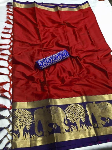 Maroon Color Soft Cotton Silk  Saree - DF-011