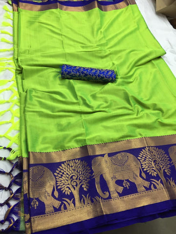 Parrot Green Color Soft Cotton Silk  Saree - DF-012
