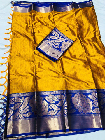 Mustard Color Soft Cotton Silk  Saree - DF-014