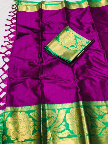 Dark Pink Color Soft Cotton Silk  Saree - DF-015