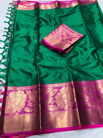 Dark Green Color Soft Cotton Silk  Saree - DF-016
