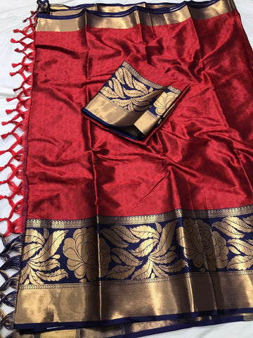 Maroon Color Soft Cotton Silk  Saree - DF-017