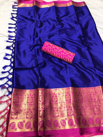 Dark Blue Color Soft Cotton Silk  Saree - DF-018