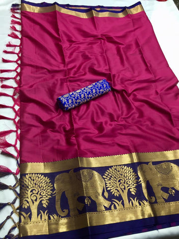 Magenta Color Soft Cotton Silk  Saree - DF-019