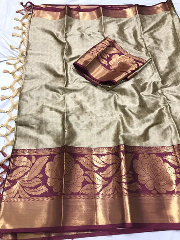 Light Gray Color Soft Cotton Silk  Saree - DF-020