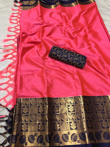 Baby Pink Color Soft Cotton Silk  Saree - DF-021