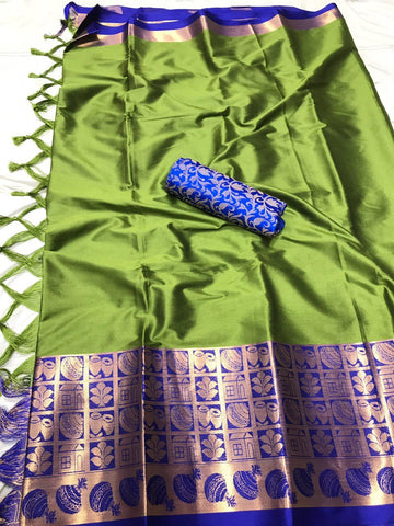 Light Green Color Soft Cotton Silk  Saree - DF-022