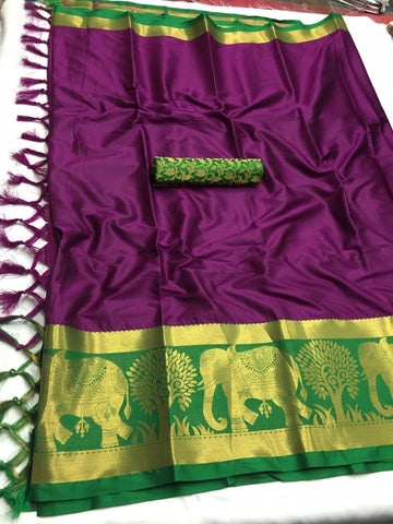Brinjal Color Soft Cotton Silk  Saree - DF-023