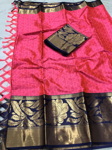 Dark Pink Color Soft Cotton Silk  Saree - DF-025