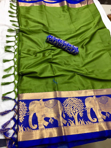 Green Color Soft Cotton Silk  Saree - DF-026