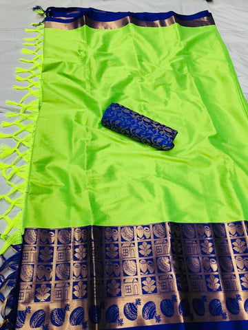 Lime Color Soft Cotton Silk  Saree - DF-027