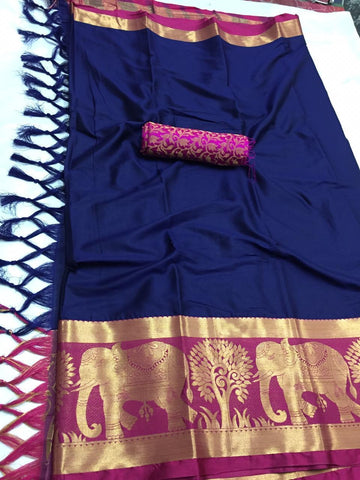 Navy Blue Color Soft Cotton Silk  Saree - DF-028