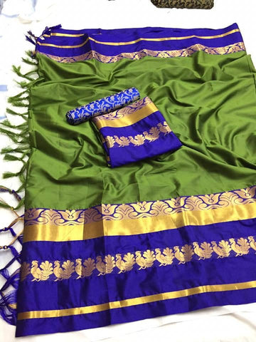 Green Color Soft Cotton Silk  Saree - DF-029