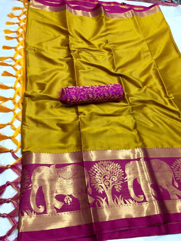 Mustard Color Soft Cotton Silk  Saree - DF-030