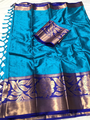 Sky Blue Color Soft Cotton Silk  Saree - DF-032
