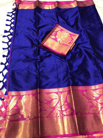 Dark Blue Color Soft Cotton Silk  Saree - DF-035