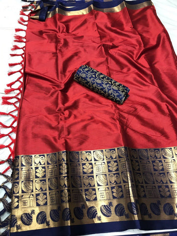 Light Maroon Color Soft Cotton Silk  Saree - DF-037