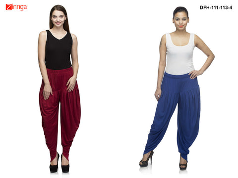 DEEFASHIONHOUSE-Women's Beautiful Royal Blue and Maroon Viscose  Lycra Dhoti Pants - DFH-111-113-4